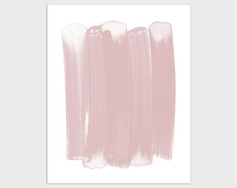 Blush Pink Modern Minimalist Abstract Brush Stroke Painting Print, Framed/Unframed Fine Art Paper or Canvas