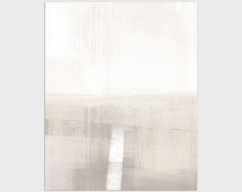 Neutral Modern Minimalist Abstract Landscape Print, Contemporary Earth Tone Wall Art, Framed/Unframed Fine Art Paper or Canvas
