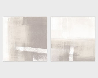 Set of 2 Square Modern Minimalist Abstract Landscape Painting Prints, Contemporary Neutral Wall Art