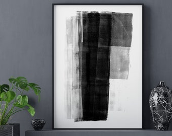 Black and White Modern Geometric Abstract Painting Print, Contemporary Minimalist Wall Art, Framed/Unframed Fine Art Paper or Canvas