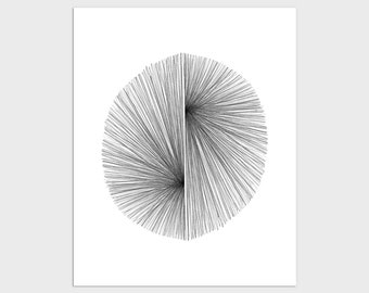 Mid Century Modern Geometric Abstract Print, Black & White Minimalist Line Drawing, Scandinavian Modern Decor