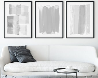 Grey & White Contemporary Abstract Painting Set of 3 Prints, Modern Minimalist Wall Art, Framed/Unframed Fine Art Paper or Canvas
