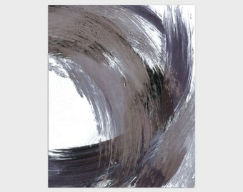 Navy Blue and Grey Modern Minimalist Abstract Brush Stroke Painting Print, Framed/Unframed Fine Art Paper or Canvas