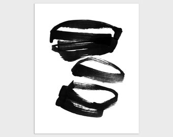 Black and White Contemporary Abstract Brush Stroke Print, Modern Minimalist Wall Art, Zen Ink Painting