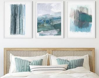Teal Blue Contemporary Minimalist Abstract Watercolor Painting Print Set of 3, Modern Coastal Wall Art