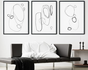 Set of 3 Modern Minimalist Abstract Line Drawing Prints in Black and White, Framed/Unframed Fine Art Paper or Canvas