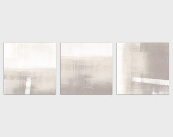 Minimalist Contemporary Abstract Landscape Set of 3 Square Prints, Modern Neutral Wall Art, Framed/Unframed Fine Art Paper or Canvas
