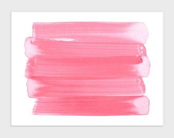 Bright Pink Horizontal Abstract Brush Stroke Painting Print, Modern Minimalist Wall Art, Framed/Unframed Fine Art Paper or Canvas