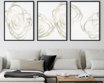 Neutral Contemporary Abstract Line Drawing Set of 3 Prints, Modern Minimalist Wall Art, Framed/Unframed Fine Art Paper or Canvas