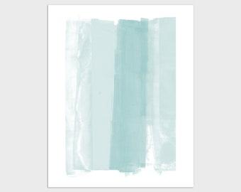 Light Aqua Blue Green Modern Minimalist Abstract Painting Print, Contemporary Coastal Wall Art, Framed/Unframed Fine Art Paper or Canvas