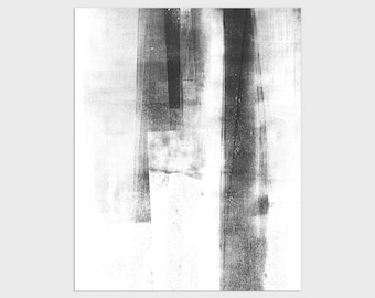 Black and White Contemporary Minimalist Abstract Print, Modern Industrial Wall Art, Framed/Unframed Fine Art Paper or Canvas