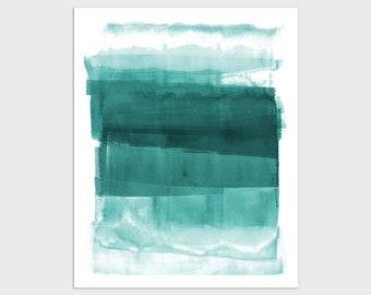 Teal Ombre Contemporary Minimalist Abstract Art Print, Modern Coastal Decor, Framed/Unframed Fine Art Paper or Canvas