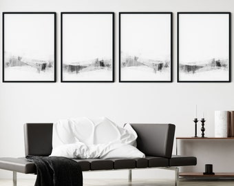 Modern Minimalist Wall Art Prints Set of 4, Black and White Contemporary Abstract Artwork, Framed/Unframed Fine Art Paper or Canvas