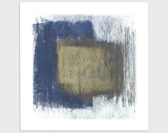 Dark Blue and Beige Square Modern Abstract Print, Contemporary Minimalist Wall Art, Framed/Unframed Fine Art Paper or Canvas