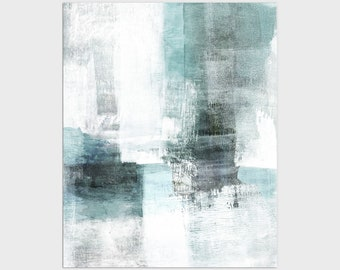 Aqua Blue and Grey Contemporary Abstract Painting Print, Framed/Unframed Fine Art Paper or Canvas