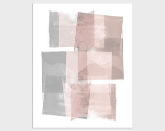Blush Pink and Grey Modern Geometric Abstract Print, Contemporary Minimalist Wall Art, Framed/Unframed Fine Art Paper or Canvas