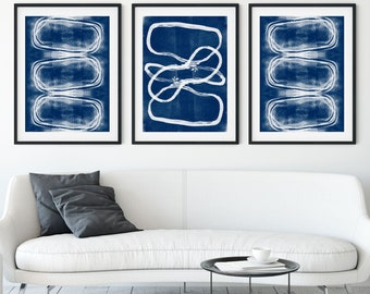 Set of 3 Modern Geometric Abstract Prints in White on Indigo Blue, Contemporary Minimalist Wall Art