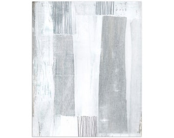 Gray and White Contemporary Abstract Painting Print, Modern Minimalist Wall Art, Framed/Unframed Fine Art Paper or Canvas