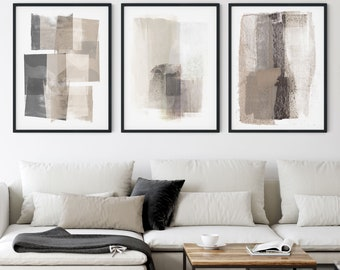 Neutral Beige and Grey Modern Abstract Painting Print Set of 3, Contemporary Minimalist Wall Art, Framed/Unframed Fine Art Paper or Canvas