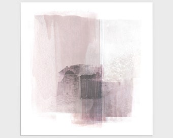 Blush Pink Square Modern Minimalist Abstract Painting Print, Framed/Unframed Fine Art Paper or Canvas