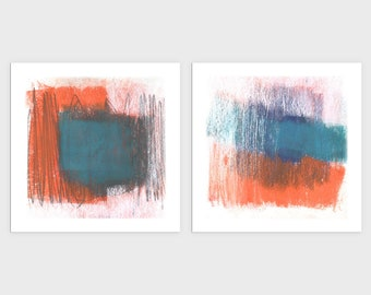 Blue and Orange Mid Century Modern Abstract Art Prints, Colorful Contemporary Wall Art, Square Print Set of 2