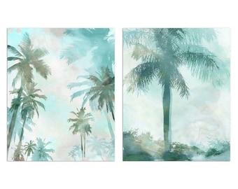 Aqua Blue Watercolor Set of 2 Palm Tree Prints, Contemporary Coastal Wall Art, Framed/Unframed Fine Art Paper or Canvas