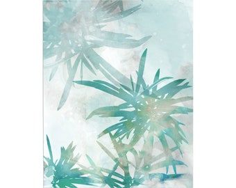 Blue Green Watercolor Palm Leaf Print, Tropical Botanical Wall Art, Modern Coastal Home Decor, Framed/Unframed Fine Art Paper or Canvas