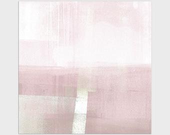 Blush Pink Square Modern Minimalist Abstract Landscape Print, Framed/Unframed Fine Art Paper or Canvas