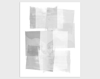 Abstract Geometric Art Print in Gray & White, Modern Minimalist Scandinavian Style Wall Art, Framed/Unframed Fine Art Paper or Canvas