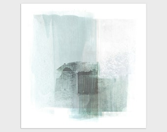 Square Contemporary Abstract Painting Print in Pale Turquoise Blue, Modern Coastal Wall Art, Framed/Unframed Fine Art Paper or Canvas