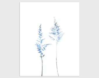 Blue Minimalist Wildflower Print, Modern Farmhouse Botanical Wall Art, Framed/Unframed Fine Art Paper or Canvas