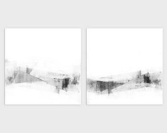Square Contemporary Minimalist Set of 2 Wall Art Prints, Black and White Modern Abstract Artwork, Framed/Unframed Fine Art Paper or Canvas