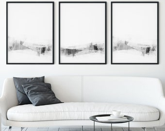 Set of 3 Black and White Contemporary Minimalist Abstract Prints, Modern Scandinavian Style Decor, Framed/Unframed Fine Art Paper or Canvas