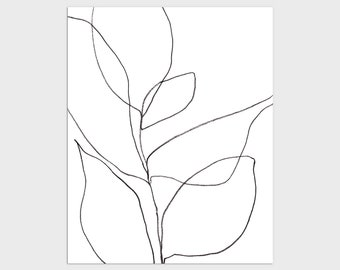 Black and White Minimalist Botanical Line Drawing Print, Contemporary Plant Illustration, Framed/Unframed Fine Art Paper or Canvas