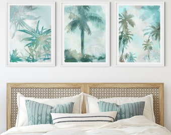 Watercolor Palm Tree Print Set of 3, Aqua Blue Coastal Decor, Beach Wall Art Set, Framed/Unframed Fine Art Paper or Canvas
