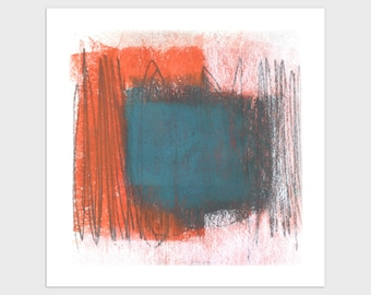 Blue and Orange Square Abstract Print, Mid Century Modern Wall Art, Framed/Unframed Fine Art Paper or Canvas