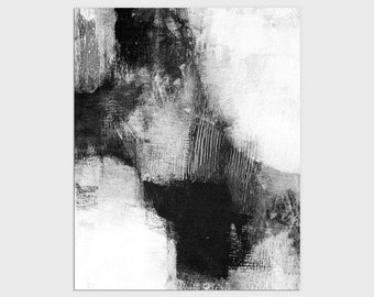 Black and White Contemporary Abstract Painting Print, Modern Statement Art, Framed/Unframed Fine Art Paper or Canvas