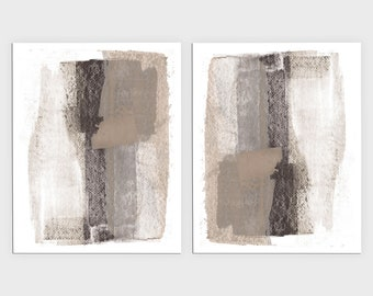 Grey and Beige Contemporary Abstract Painting Print Set of 2, Modern Minimalist Diptych Wall Art, Framed/Unframed Fine Art Paper or Canvas
