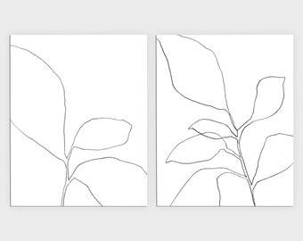 Botanical Illustration Set of 2 Prints, Black and White Wall Art Set, Plant Print Set, Framed/Unframed Fine Art Paper or Canvas