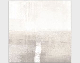 Square Neutral Contemporary Minimalist Abstract Landscape Print, Framed/Unframed Fine Art Paper or Canvas