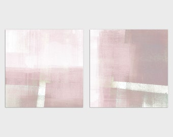 Blush Pink Wall Art, Modern Minimalist Abstract Wall Art, Set of 2 Square Prints, Framed/Unframed Fine Art Paper or Canvas