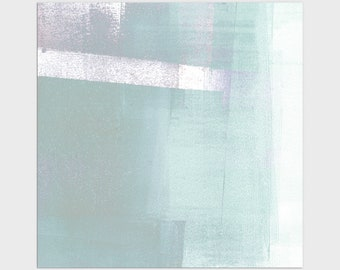 Contemporary Minimalist Abstract Print in Aqua/Turquoise Blue, Square Modern Coastal Wall Art, Framed/Unframed Fine Art Paper or Canvas
