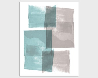 Modern Geometric Abstract Print in Turquoise Blue and Taupe, Framed/Unframed Fine Art Paper or Canvas