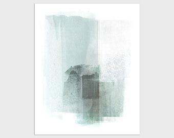 Light Aqua Blue Abstract Painting Print, Modern Coastal Home Decor, Framed/Unframed Fine Art Paper or Canvas
