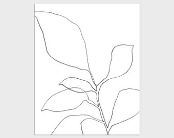 Black and White Contemporary Botanical Illustration Print, Minimalist Plant Line Drawing, Framed/Unframed Fine Art Paper or Canvas