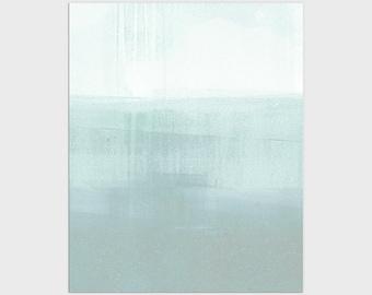 Aqua Blue Modern Minimalist Abstract Seascape Print, Contemporary Coastal Wall Art, Framed/Unframed Fine Art Paper or Canvas