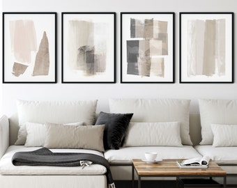 Set of 4 Neutral Beige and Grey Modern Abstract Painting Prints, Contemporary Minimalist Wall Art, Framed/Unframed Fine Art Paper or Canvas