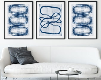 Indigo Blue Set of 3 Modern Geometric Abstract Prints, Contemporary Minimalist Wall Art, Framed/Unframed Fine Art Paper or Canvas