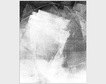 Black and White Contemporary Abstract Print, Modern Industrial Wall Art, Framed/Unframed Fine Art Paper or Canvas