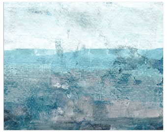 Blue Grey Minimalist Abstract Seascape Painting Print, Contemporary Coastal Wall Art, Framed/Unframed Fine Art Paper or Canvas